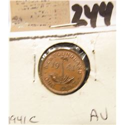 1941 C Newfoundland One Cent, AU.