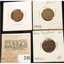 1943, 44, & 47 C Newfoundland Canada One Cents. VF+.