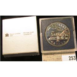 """1981 Royal Canadian Mint """"Train"""" Silver Dollar, BU."""