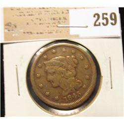1845 U.S. Large Cent, VF+.