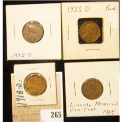 1918 D, 32 D, 33 D,  34 P Lincoln Cents.