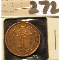 1906 Ceylon One Cent.