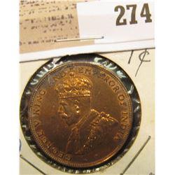 1923 Hong Kong Large Cent, AU.