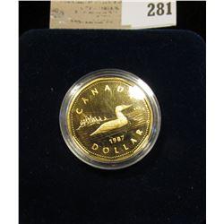 "1987 Proof Royal Canada Mint ""Loonie"" Dollar in original velvet case."