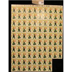 """Partial Mint Sheet of 1956 """"Greetings"""" Christmas Stamps/Seals. National Tuberculosis Association. (9"""
