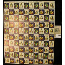 """Mint Sheet of 1961 """"Greetings"""" Christmas Stamps/Seals. National Tuberculosis Association. (100 stamp"""