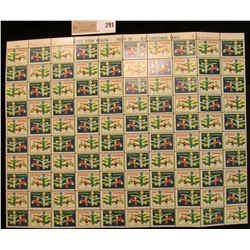 """Mint Sheet of 1962 """"Greetings"""" Christmas Stamps/Seals. National Tuberculosis Association. (100 stamp"""