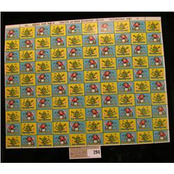 """Mint Sheet of 1965 """"Greetings"""" Christmas Stamps/Seals. National Tuberculosis Association. (100 stamp"""