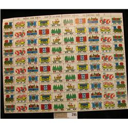 """Mint Sheet of 1967 """"Greetings"""" Christmas Stamps/Seals. National Tuberculosis Association. (100 stamp"""