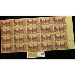 Block of 20 Mt. Rainier Three Cent USA Stamps, Scott # 742