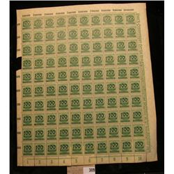 (ERROR) 1922 German Reich Empire 100 thousand overprint 400 mark million stamp sheet issued during t
