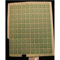 Mint Sheet of 30 Mark green stamps from early 1900's Germany. No doubt a War capture item. Rarely ev