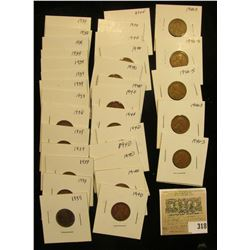"Group of carded Lincoln Cents, all in 2"" x 2"" holders and ready for retailing. Includes 1938P, (13)"