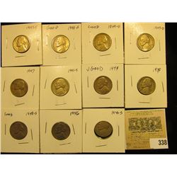 "Group of carded Jefferson Nickels, all in 2"" x 2"" holders and ready for retailing. Includes 1939P, 4"