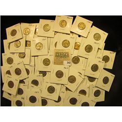 "Group of carded Jefferson Nickels, all in 2"" x 2"" holders and ready for retailing. Includes 1954D, ("