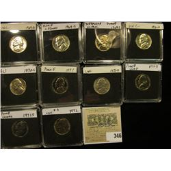 (10) Jefferson Nickels in hard plastic cases dating 1969 D-72 P and includes both BU and Proof speci