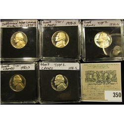 (2) 1979 S Type One, 79 S Type Two, 81 S Type One, & 81 S Type Two Proof Jefferson Nickels. All stor