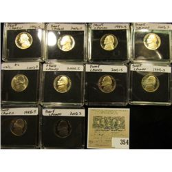 (10) Jefferson Nickels in hard plastic cases dating 1996-2003 and includes both BU and Proof specime
