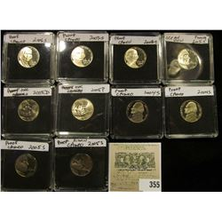 (10) Jefferson Nickels in hard plastic cases dating 2004-2008 and includes both BU and Proof specime