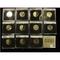 (11) Jefferson Nickels in hard plastic cases dating 2016-2018 and includes both BU and Proof specime