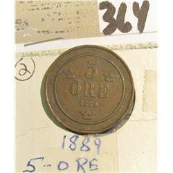 1889 Sweden Copper Five Ore.