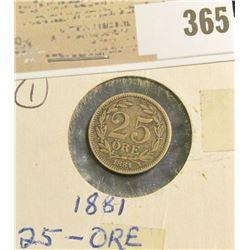 1881 Sweden Silver 25 Ore.