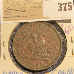 1850 Bank of Upper Canada Large Penny.