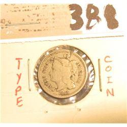 1865 U.S. Three Cent Nickel.