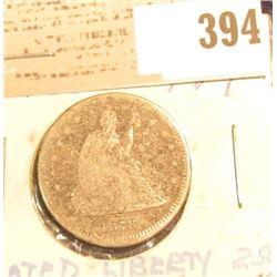 1878 U.S. Silver Seated Liberty Quarter.