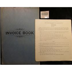 "1899 ""Invoice Book"" for College Currency course with lots of invoices."