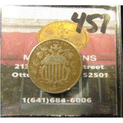 1867 with Rays U.S. Shield Nickel. VG.