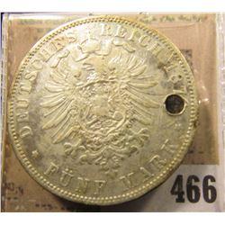 1876J Hamburg Germany Silver Five Mark. Holed.