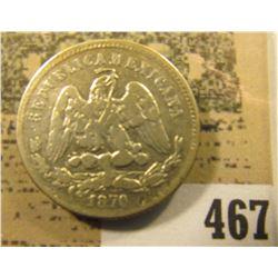 1870 ZS Mexico .903 fine Silver 25 Centavos. KM406.9.