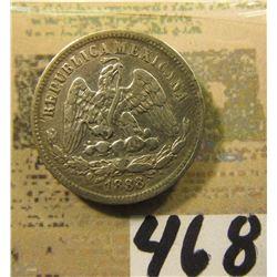 18Mo M Mexico .903 fine Silver 25 Centavos.