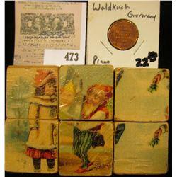 "1800 era Wooden Block Puzzle & 1776-1976 United States Bicentennial ""Waldkirch Germany"" Indian token"