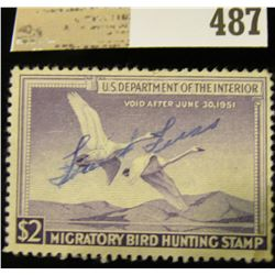 1950 Two Dollar Federal Migratory Waterfowl Stamp, signed. RW17.