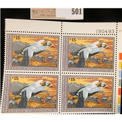 1992 Plateblock of RW59 $15.00 Federal Migratory Waterfowl Stamps, all mint, unsigned. #190493 $60 f