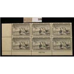 1958 Plateblock of Six RW25 $2.00 Federal Migratory Waterfowl Stamps, all mint, unsigned & stored in