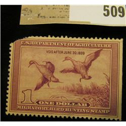 1938 RW # 5 One Dollar Federal Migratory Waterfowl Stamp, left upper corner missing. Catalog was $17