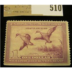 1938 RW # 5 One Dollar Federal Migratory Waterfowl Stamp, Catalog was $170.00, Mint, unisgned.