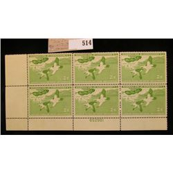 1957 Plateblock of Six RW24 $2.00 Federal Migratory Waterfowl Stamps, all mint, unsigned. $12 face v