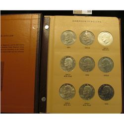 Complete Set of 1971-78 Eisenhower Dollars in a World Coin Library Album. Contains all the Silver, U