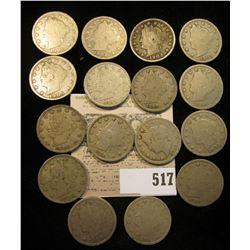 """(4) 1901, (3) 02, 03, 04, 06, (4) 07, & (2) 1912 P Liberty """"V"""" Nickels. (16 pcs.)"""