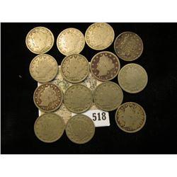 """1883 NC, 1889, 99, 1901, 02, 03, 04, 06, 07, 08, 09, 10, 11, & 12 P Liberty """"V"""" Nickels. (10 pcs.)"""