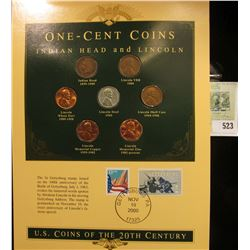 U.S. Coins of the 20th Century One-Cent Coins Indian Head and Lincoln, postmarked at Gettysburg, Pa.