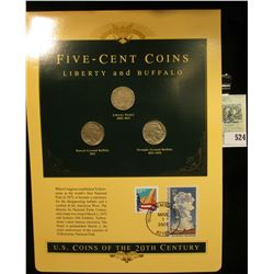 U.S. Coins of the 20th Century Five-Cent Coins Liberty and Buffalo, postmarked at Yellowstone Nation