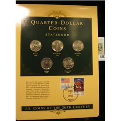 U.S. Coins of the 20th Century Quarter-Dollar Coins Statehood, postmarked at Dover, De. with literat