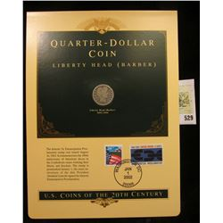 U.S. Coins of the 20th Century Quarter-Dollar Coin Liberty Head (Barber), postmarked at Washington,