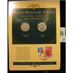 U.S. Coins of the 20th Century Half-Dollar Coins Walking Liberty and Franklin postmarked at Philadel