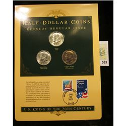 U.S. Coins of the 20th Century Half-Dollar Coins Kennedy Regular Issue postmarked at Washington, D.C